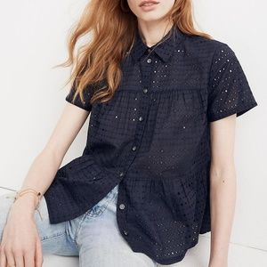 Madewell Eyelet Seamed Button-Down Shirt XS